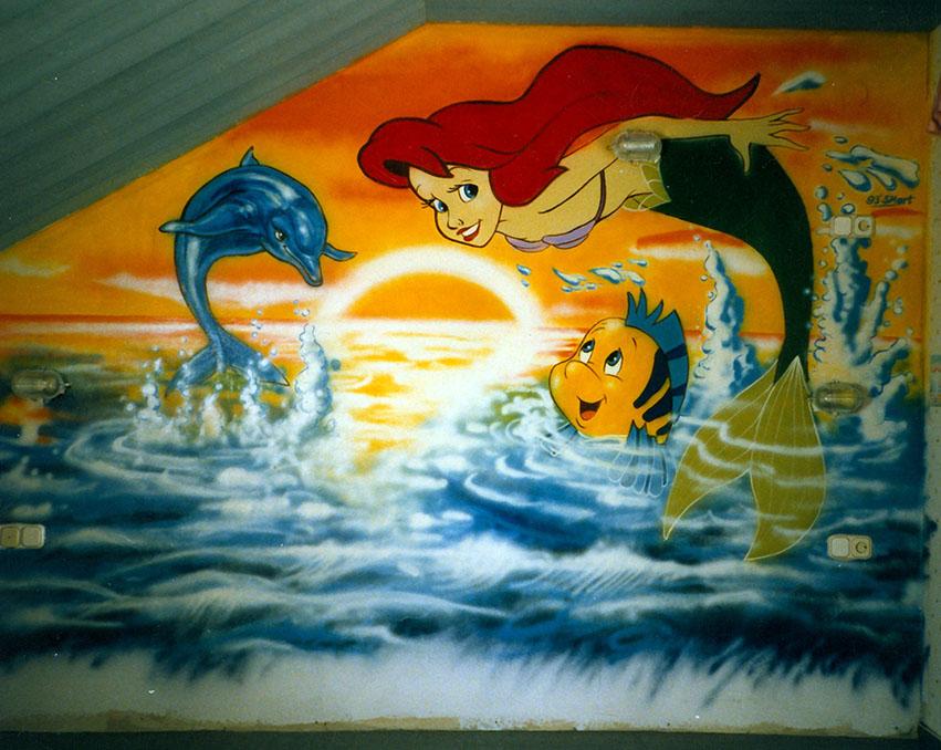 Meerjungfrau auf Kinderzimmerwand